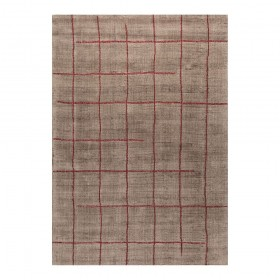 tapis viscose tissé main marron reflect ligne pure