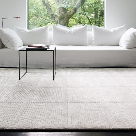 tapis laine reflect ligne pure tufté main gris