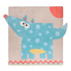 tapis pour nourrisson loup leon gris et bleu nattiot