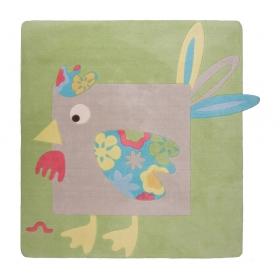 tapis pour bébé poule lola gris et vert nattiot