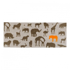 tapis enfant africa marron et beige
