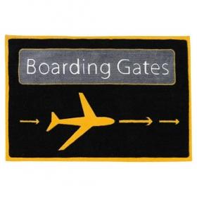 tapis enfant airport noir et jaune