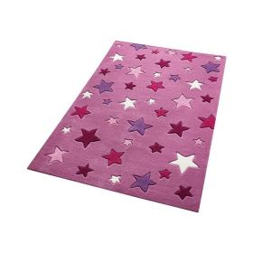 tapis enfant simple stars smart kids rose tufté main
