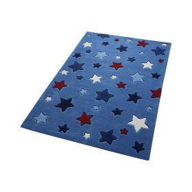 tapis enfant simple stars smart kids bleu tufté main