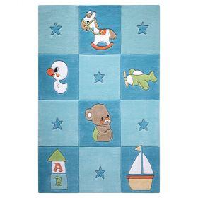 tapis enfant bleu newborn smart kids tufté main