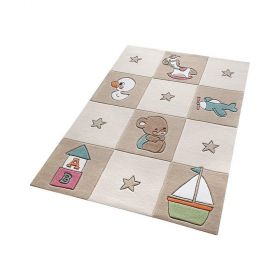 tapis enfant marron newborn smart kids tufté main
