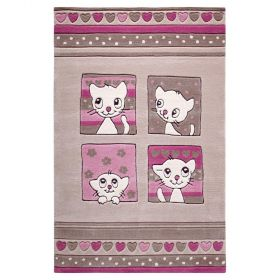 tapis enfant smart kids kitty kat beige tufté main