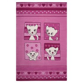 tapis enfant smart kids kitty kat rose tufté main