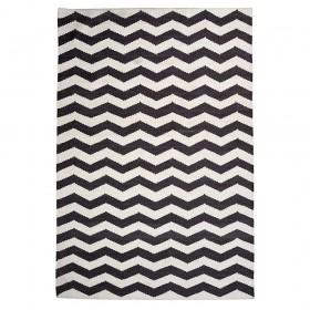 tapis tissé main chevron noir the rug republic