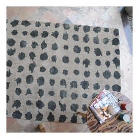 tapis en laine tissé main roxen gris et encre the rug republic