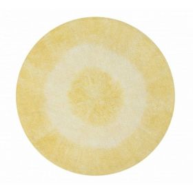 tapis lavable tie-dye yellow 150x150 - lorena canals
