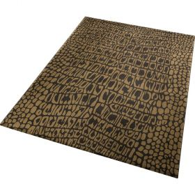 tapis moderne croco or et marron wecon
