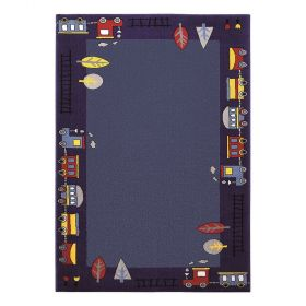 tapis enfant bleu funny train wecon