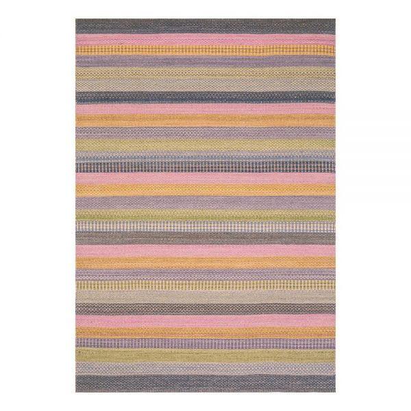 tapis moderne bleu flatweave ligne pure laine