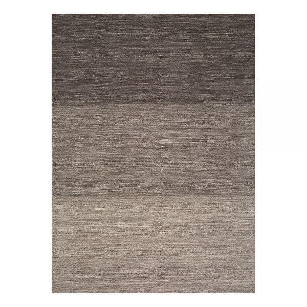 tapis moderne marron laine uni flatweave ligne pure