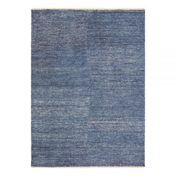 tapis moderne ligne pure viscose bleu uni