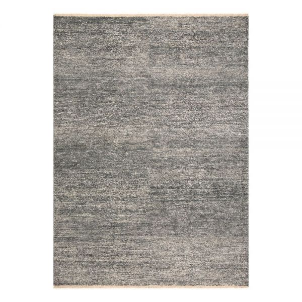 tapis moderne viscose noir uni ligne pure