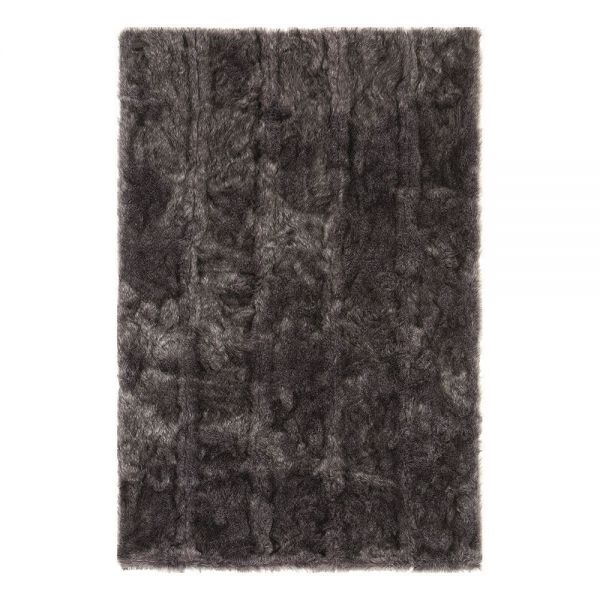 tapis shaggy noir uni pelle ligne pure 160 x 240. Black Bedroom Furniture Sets. Home Design Ideas