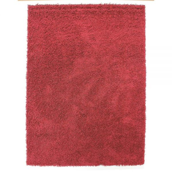 tapis shaggy rond rouge 4cm flair rugs 133x133. Black Bedroom Furniture Sets. Home Design Ideas