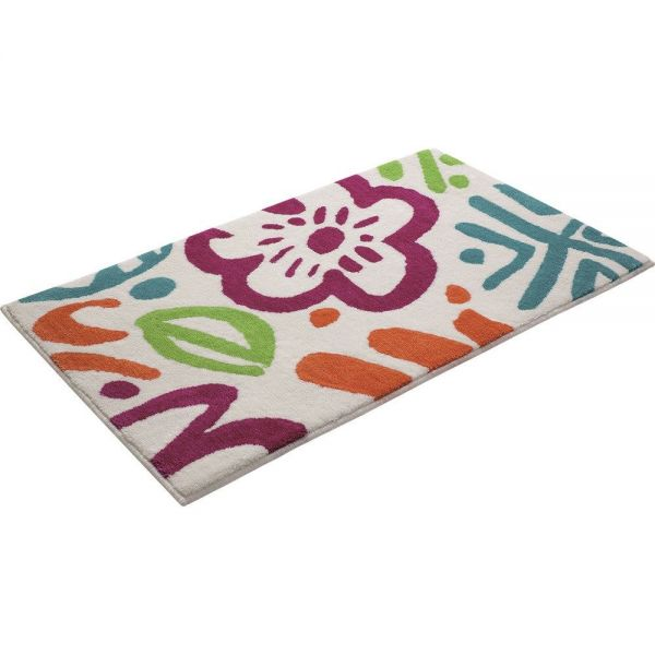 tapis de bain esprit cool flower multicolore
