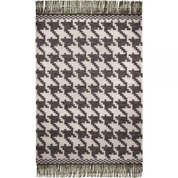 tapis houndstooth moderne noir et blanc