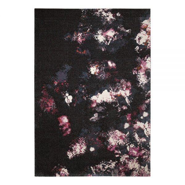 tapis moderne noir nocturnal flowers esprit home