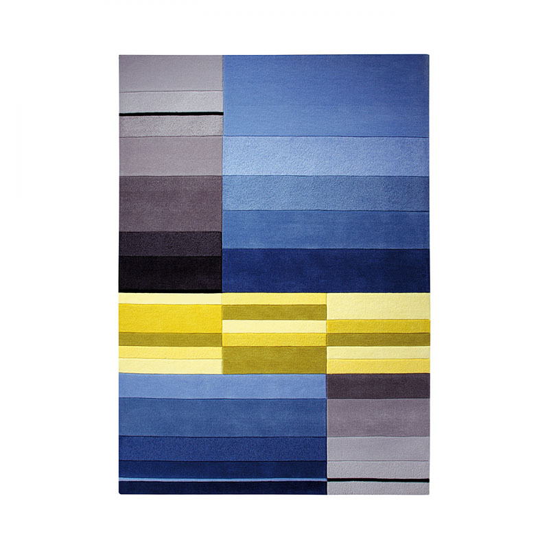 tapis bleu et jaune split esprit home 120x180. Black Bedroom Furniture Sets. Home Design Ideas