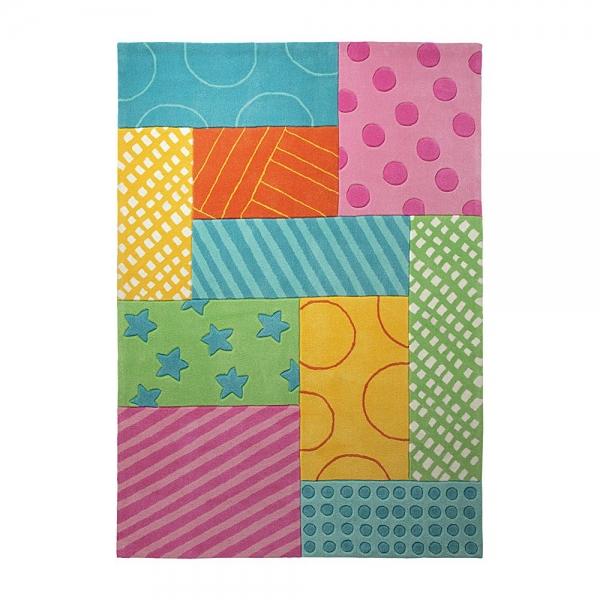 tapis esprit home enfant patchwork garden multicolore