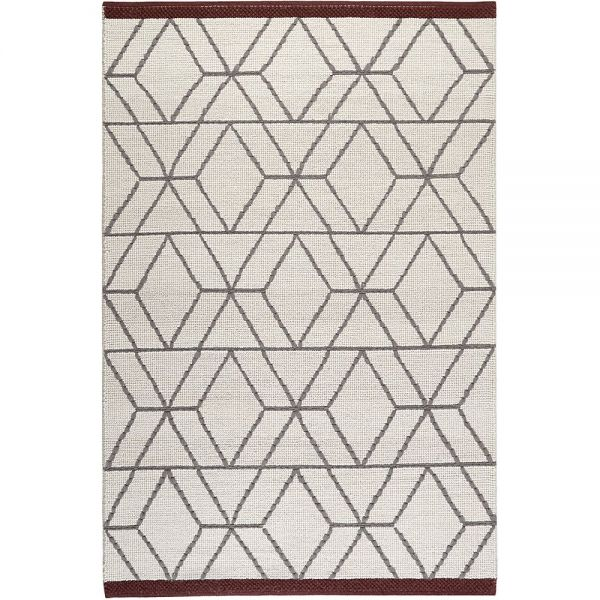 tapis hexagon moderne blanc, gris et bordeaux esprit
