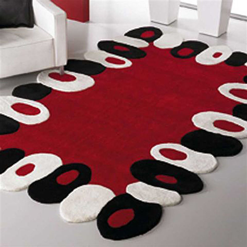 tapis rouge et gris moderne tapis design lignes. Black Bedroom Furniture Sets. Home Design Ideas