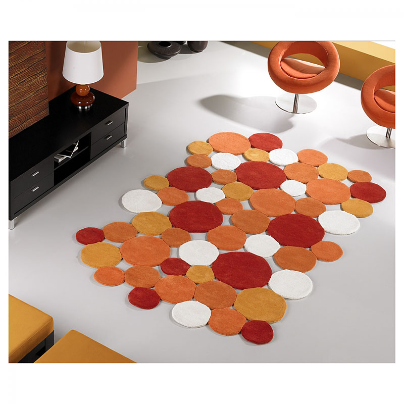 tapis fricks carving en laine orange