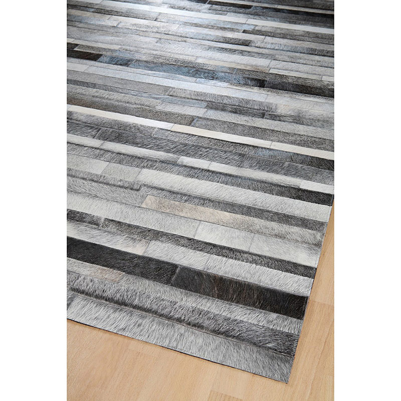 tapis home spirit jacob en patchwork de cuir gris 200x300. Black Bedroom Furniture Sets. Home Design Ideas