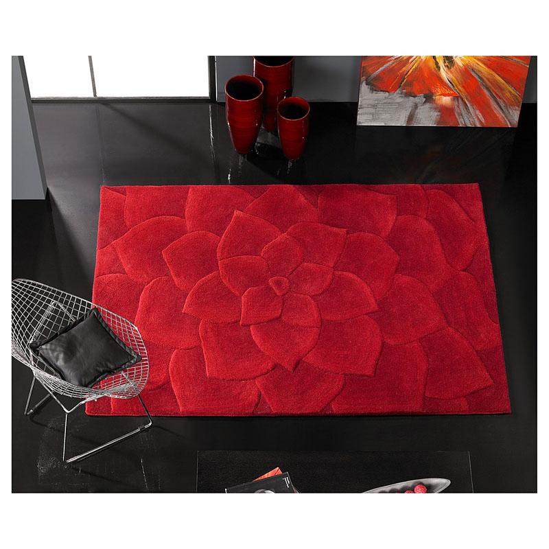tapis kalista carving en laine rouge