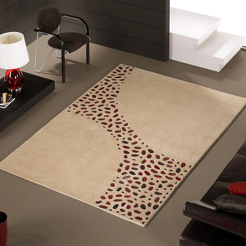 tapis à motifs en peaux loxton beige carving