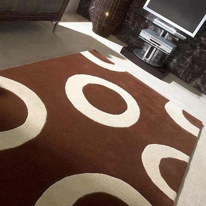 Tapis en laine marron et beige carving polo 200x300