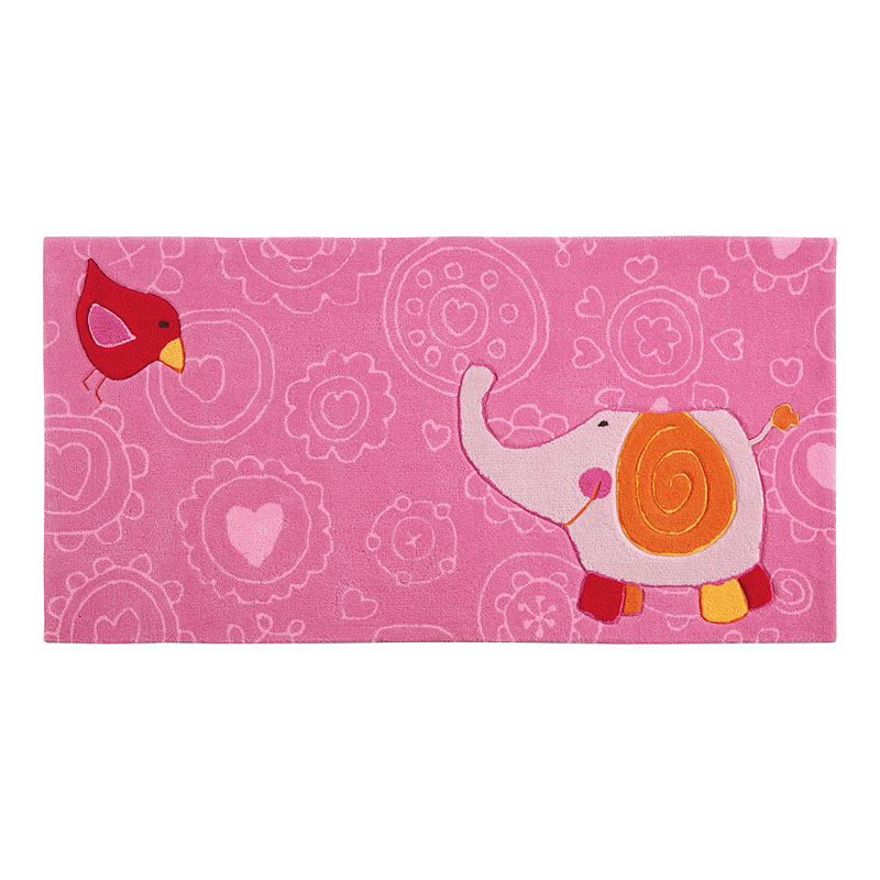 tapis enfant rose sigikid happy zoo elephant