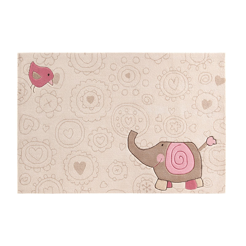 tapis enfant happy zoo elephant beige - sigikid