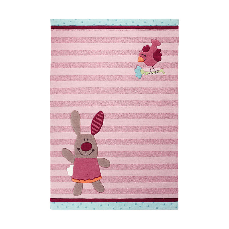 tapis enfant 3 happy friends stripes sigikid rose