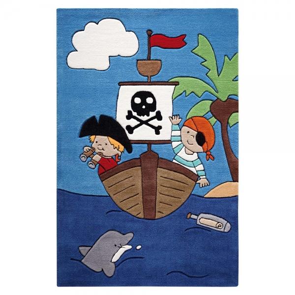tapis enfant smart kids pirate kids bleu tufté main