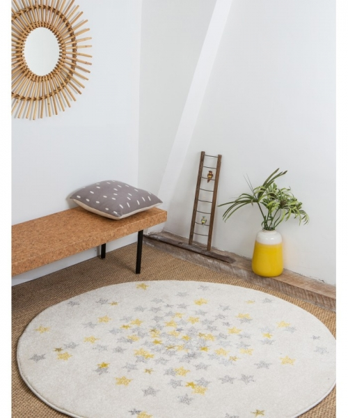 tapis enfant rond nova jaune - art for kids