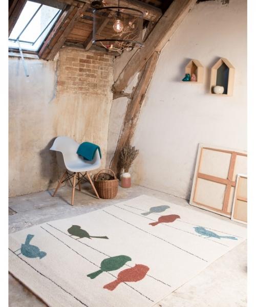 tapis enfant petits oiseaux multicolore - art for kids