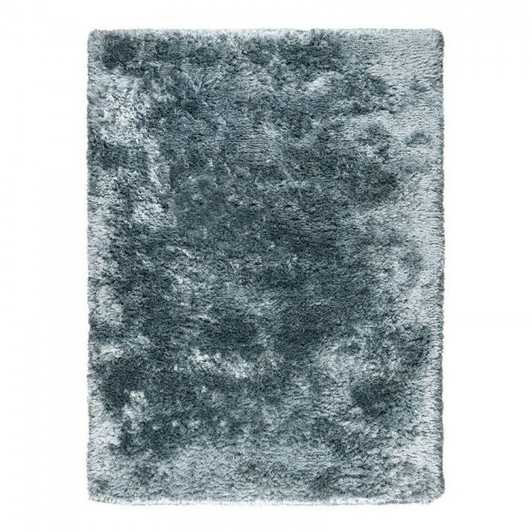 tapis bleu adore ligne pure shaggy tissé main