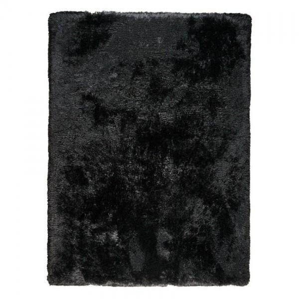 tapis shaggy noir tissé main ligne pure adore