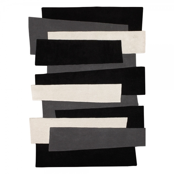 tapis design pebbles laine noir et blanc - angelo