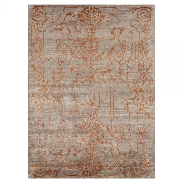 tapis silky motif baroque orange et taupe - angelo