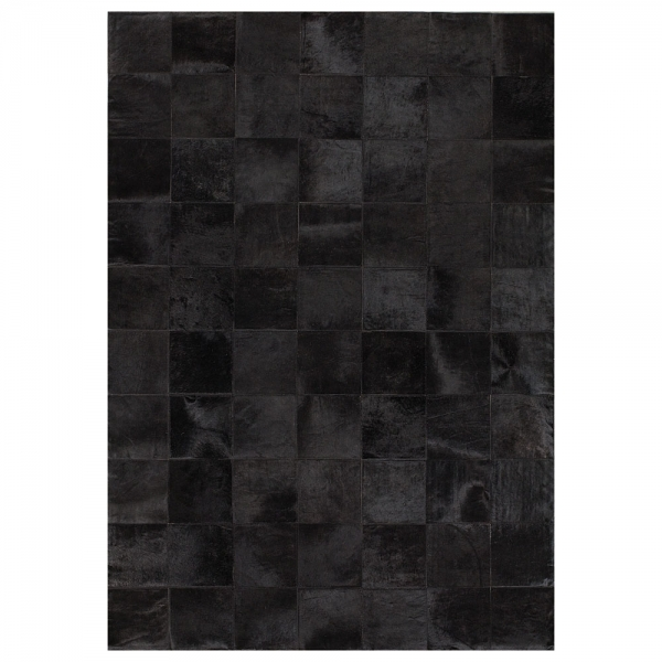 tapis en cuir angelo starless patchwork noir uni