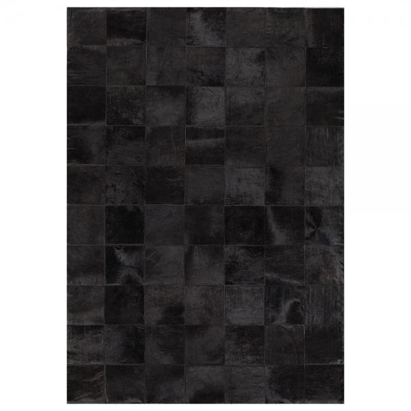 tapis en cuir noir starless patchwork uni angelo