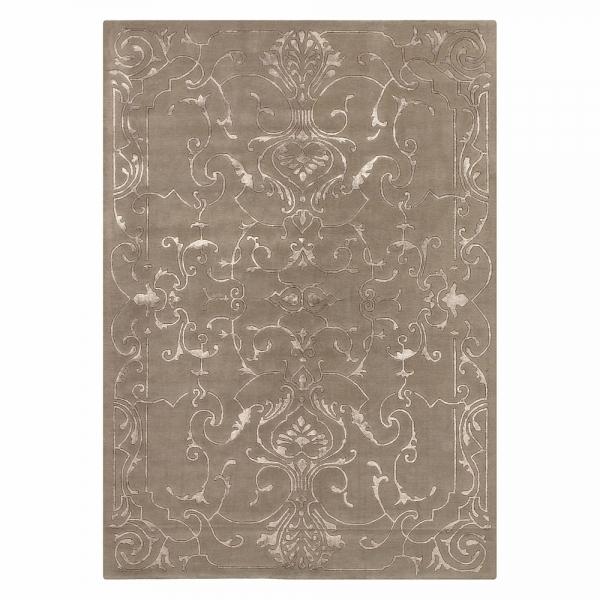 tapis taupe motif baroque sydney angelo