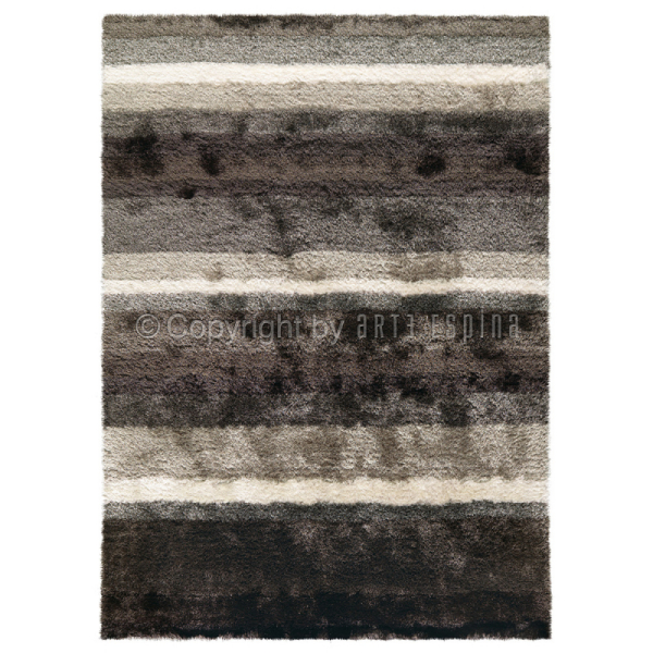tapis poil long funky gris et blanc arte espina 120x180. Black Bedroom Furniture Sets. Home Design Ideas