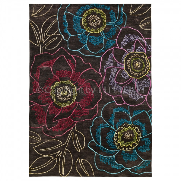 tapis floral tropical passion marron arte espina 70x140. Black Bedroom Furniture Sets. Home Design Ideas
